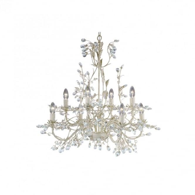 Almandite 8 light cream gold chandelier light with crystal droplets almandite 8 light cream gold chandelier mozeypictures Images