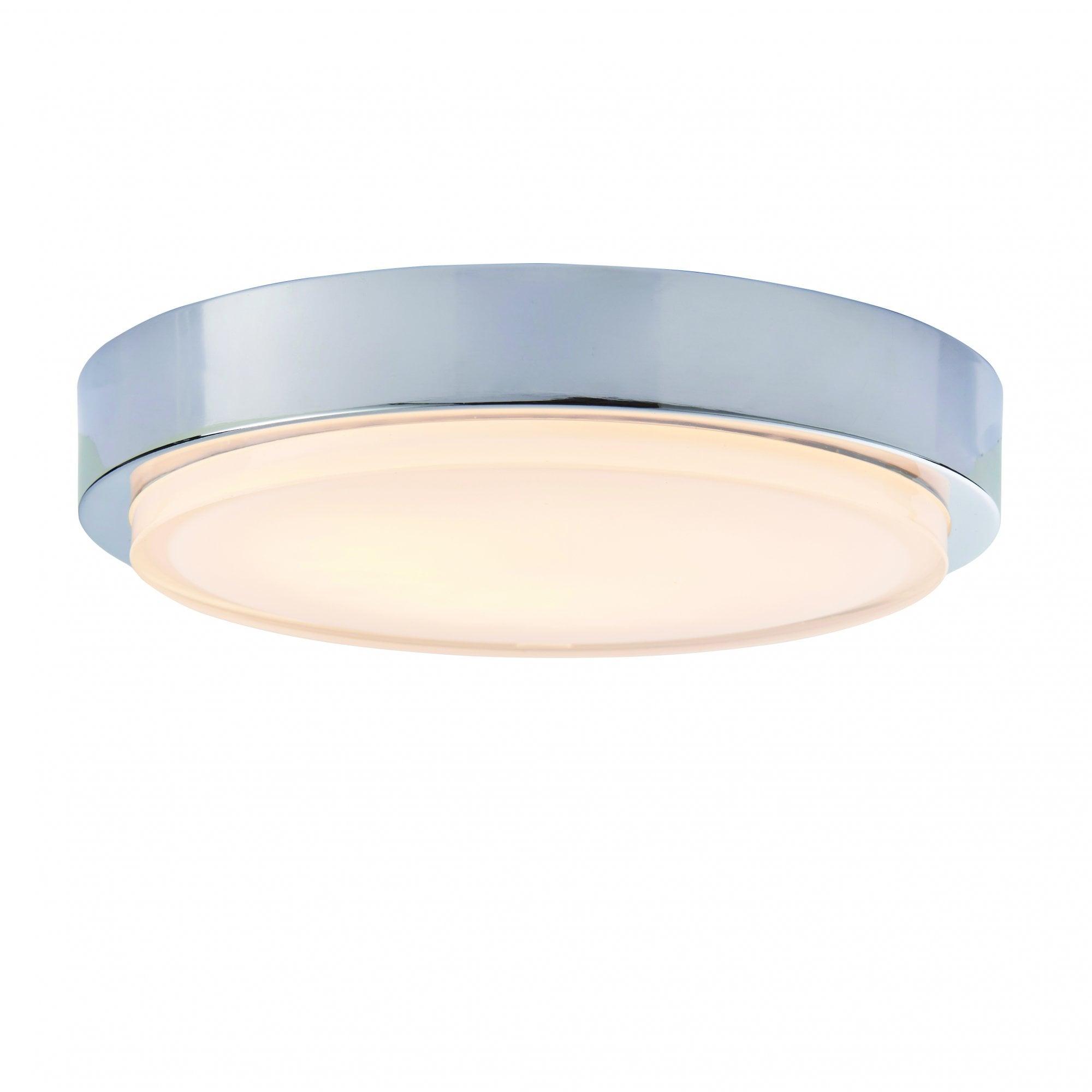 Chrome Flush Fit Led Bathroom Ceiling Light With White Glass
