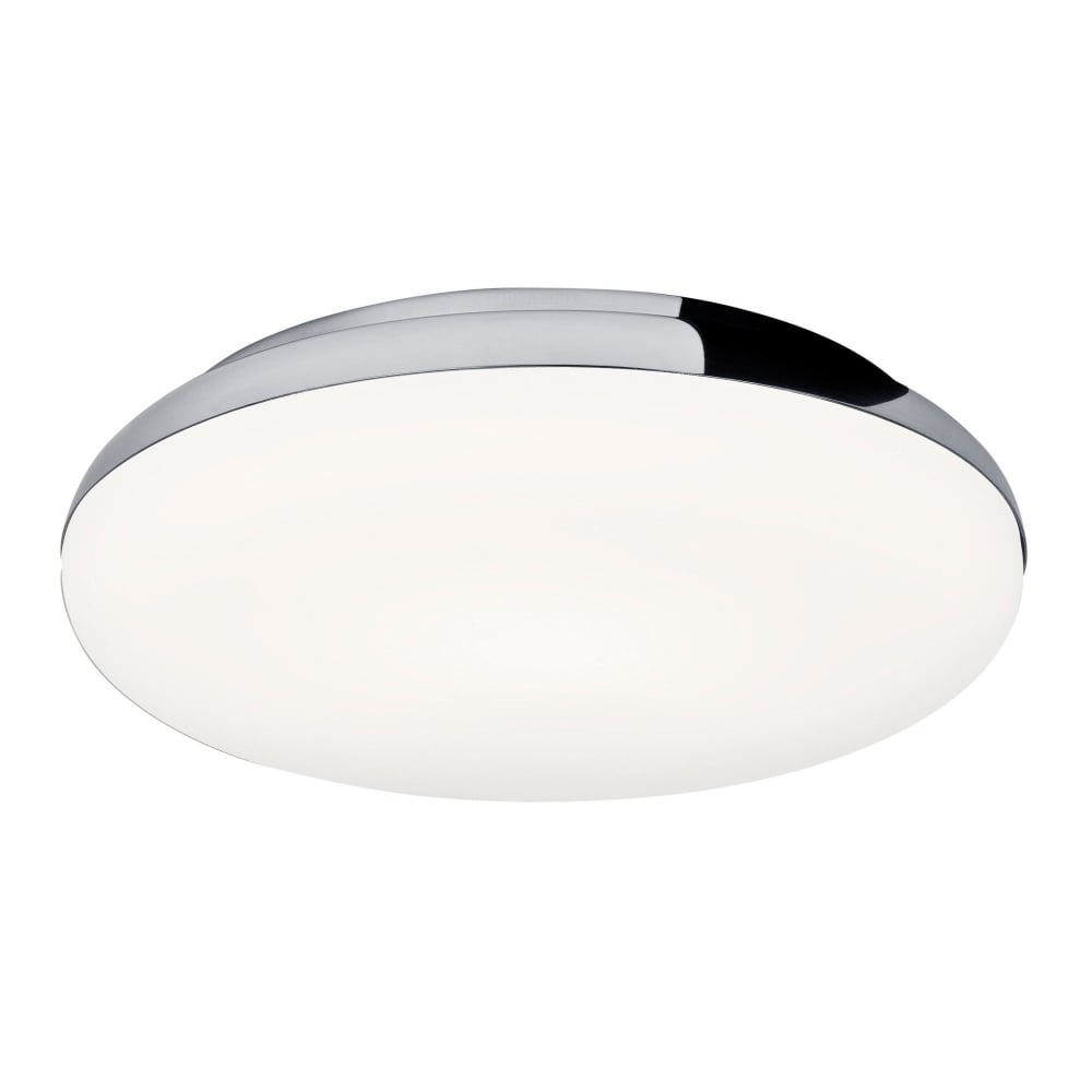 Contemporary Polished Chrome Bathroom Ceiling Light With Opal Diffuser