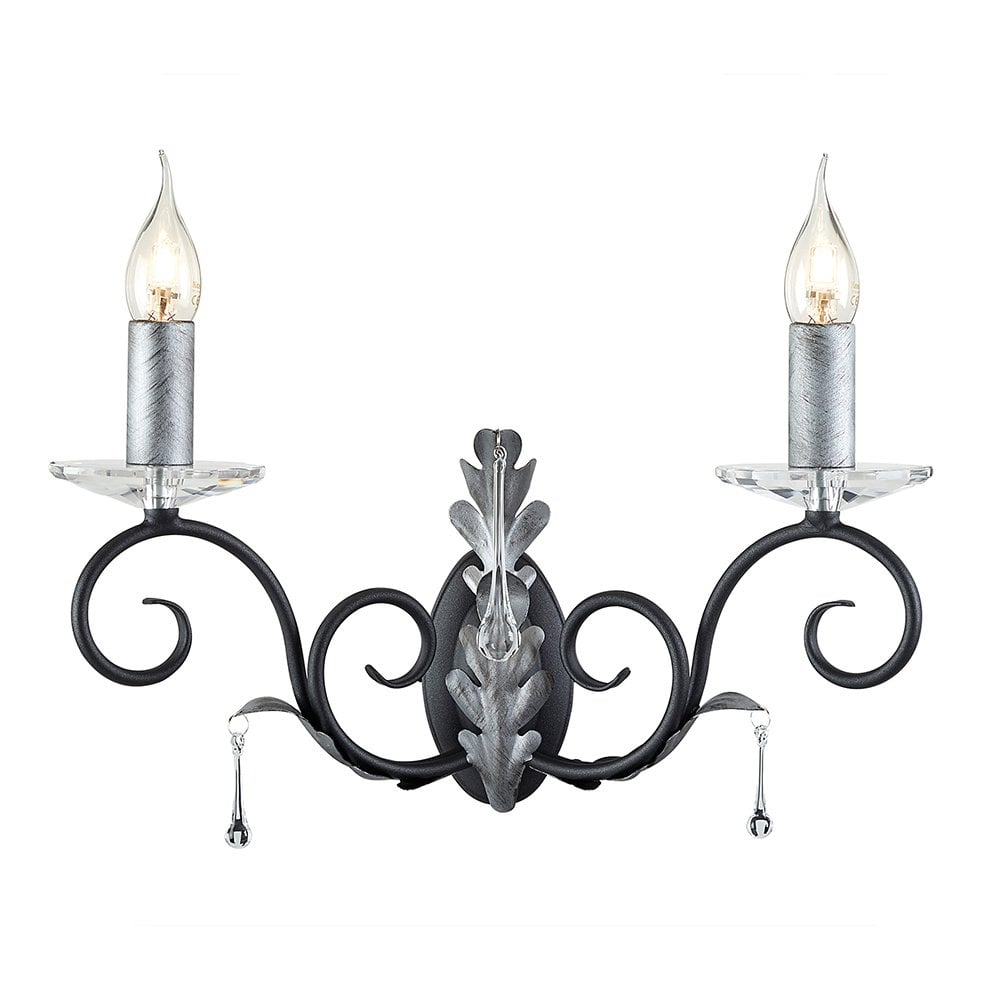 Double Traditional Candle Wall Light Black/Silver Lighting ...