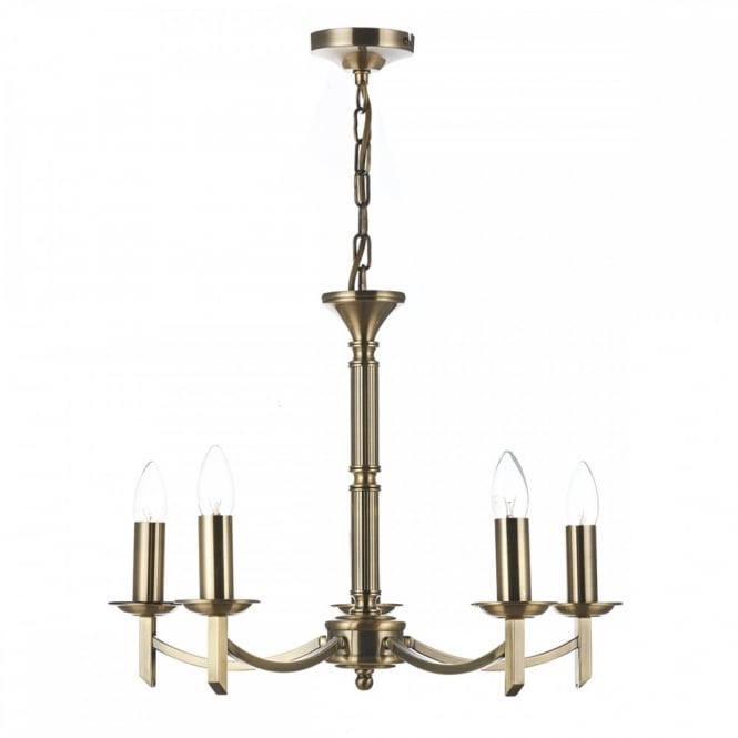 AMBASSADOR traditional antique brass 5 light ceiling light (dual mount)