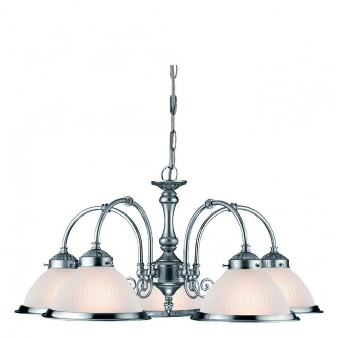 AMERICAN DINER 5 arm ceiling pendant satin silver