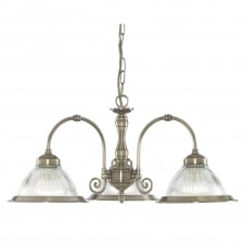 AMERICAN DINER antique brass 3 arm ceiling pendant