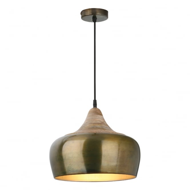 AMIEL aged gold and wooden single ceiling pendant