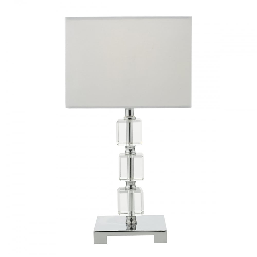 Contemporary Chrome and Glass Table Lamp with Shade