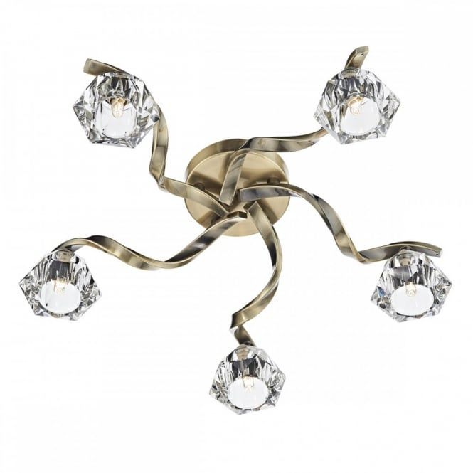 detailed pictures 9a166 cb030 ANCONA Modern Flush 5 light Ceiling Fitting in Antique Brass and Crystal  Glass Shades.