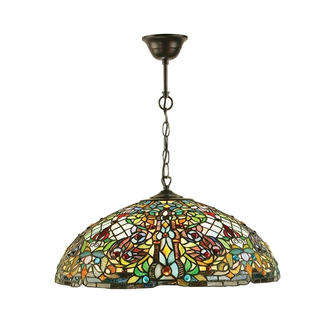 ANDERSON Tiffany stained glass ceiling pendant light (large)