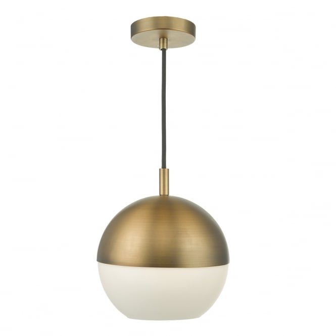 ANDRE aged brass globe shaped ceiling pendant with opal glass