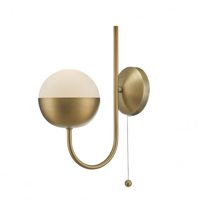 ANDRE modern classic aged brass wall light with opal glass