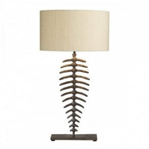 Designer british made table lamp hammered copper base with silk shade angler bronze fish skeleton table lamp mozeypictures Image collections