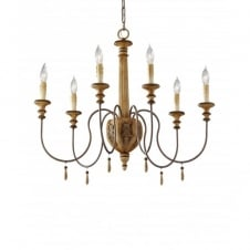 ANNABELLE 6 light chandelier, wood effect ivory crackle finish