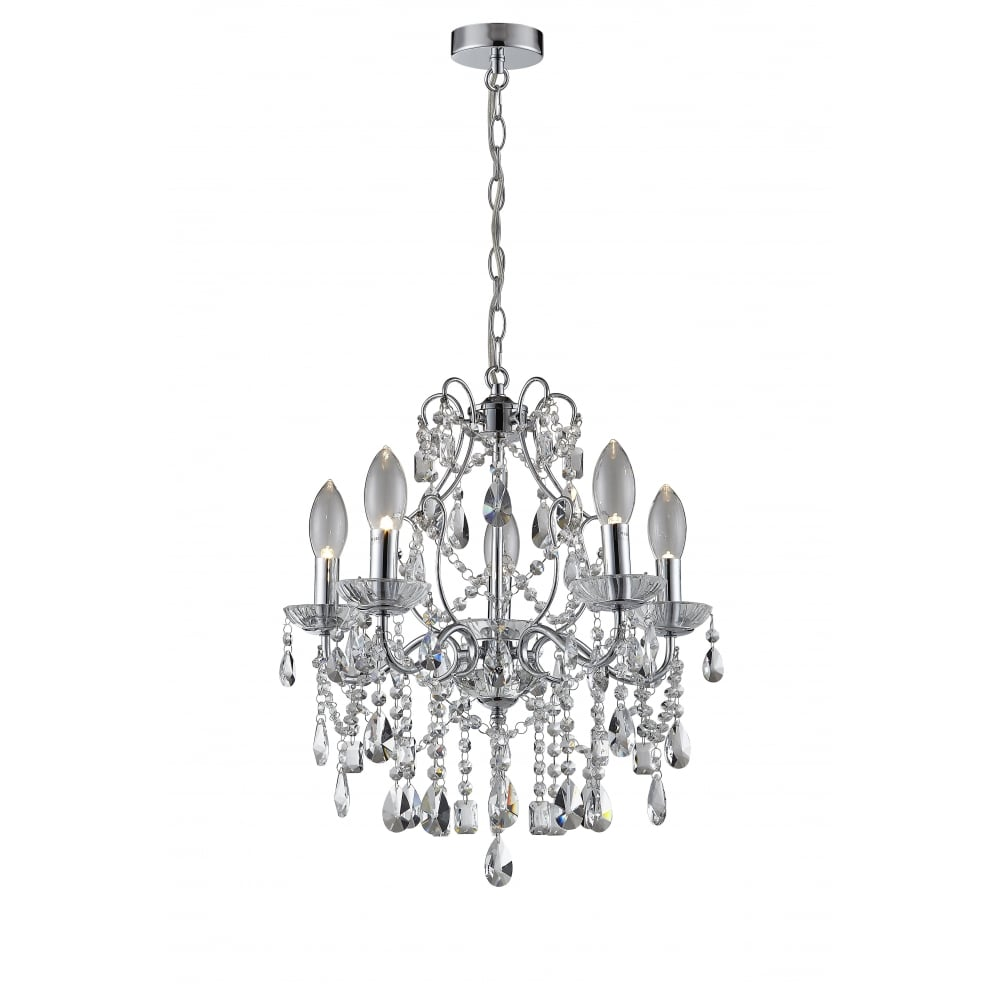 decorative 5 light bathroom chandelier in chrome