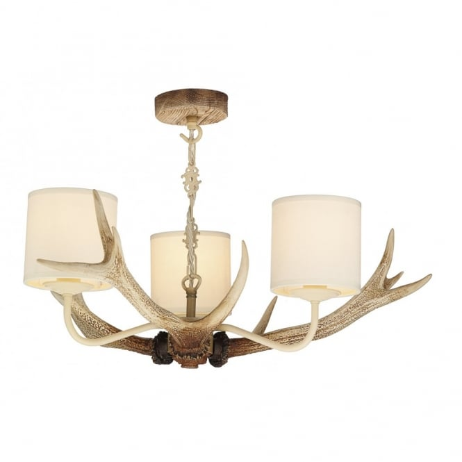 Uk made replica stag antler ceiling pendant light with fabric shades aloadofball