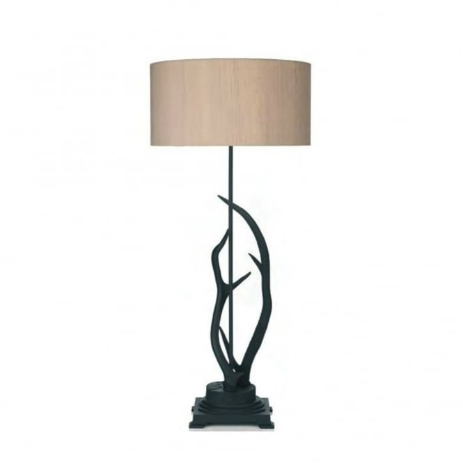 ANTLER Rustic Table Lamp With Silk Shade (taupe)