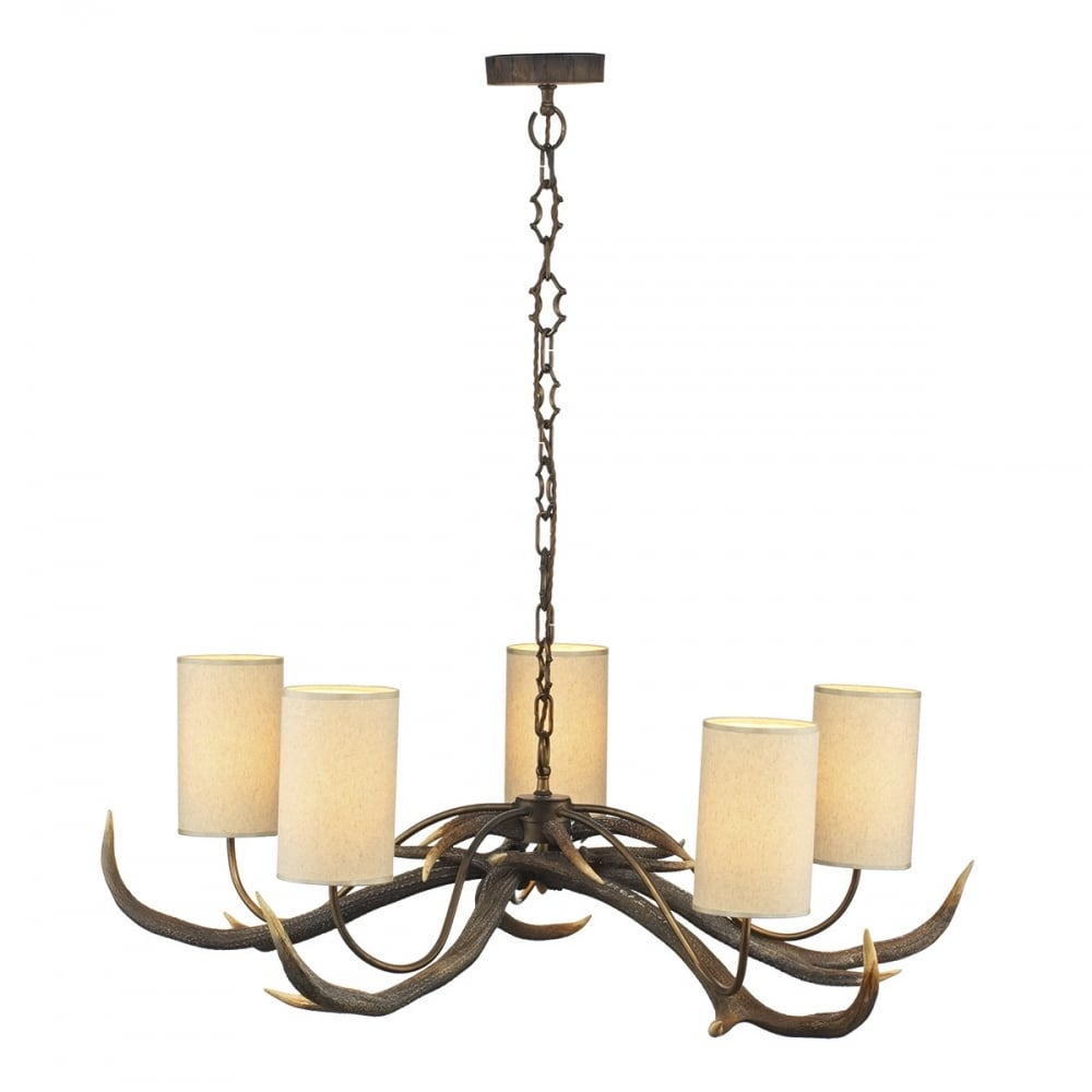 Antler stag ceiling light on chain with cream shades antler stag ceiling pendant light aloadofball Image collections