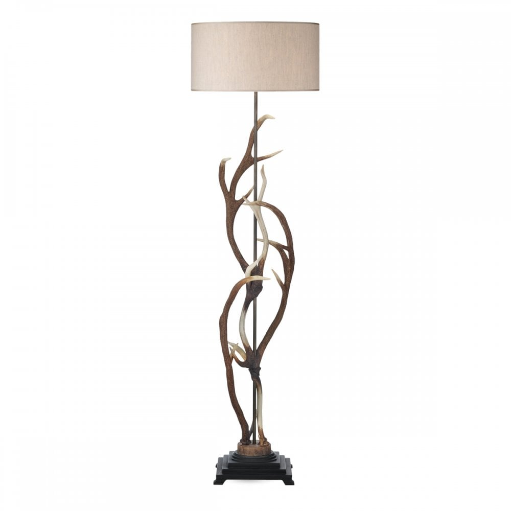 Stag Antler Floor Lamp With Shade Realistic Deer Antlers
