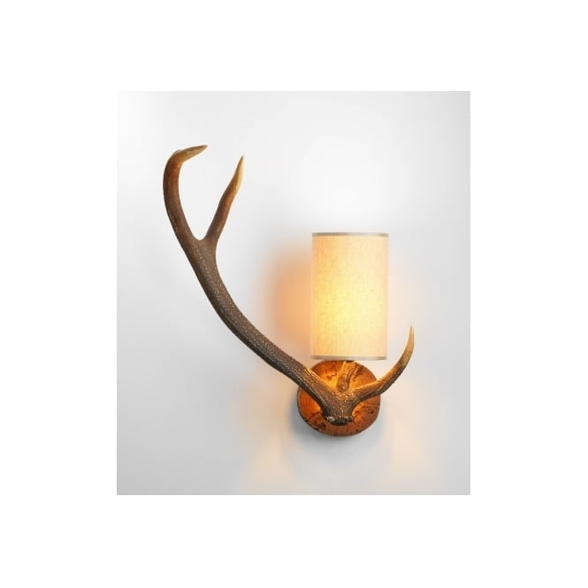 Antler stag wall light with cream shade left facing antler stag wall light mozeypictures Gallery
