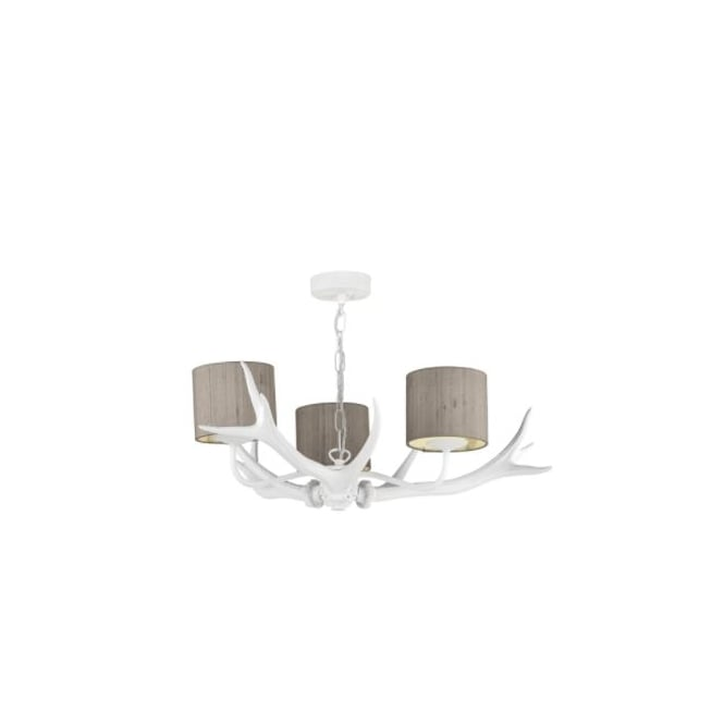 ANTLER white ceiling pendant 3lt (cream shades)
