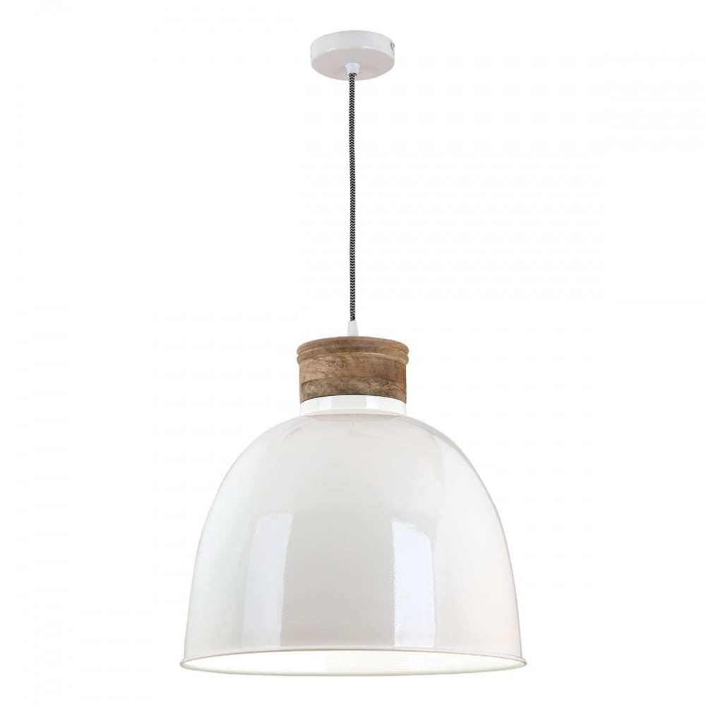 Aphra gloss cream and wooden ceiling pendant light