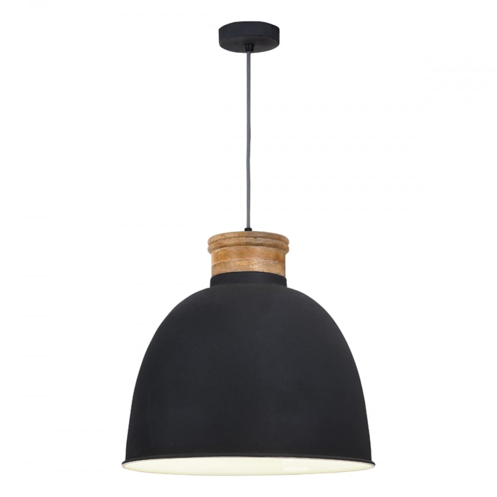 1e2f9c3c1b77 APHRA Dark Matte Grey Ceiling Pendant with Wooden Detail