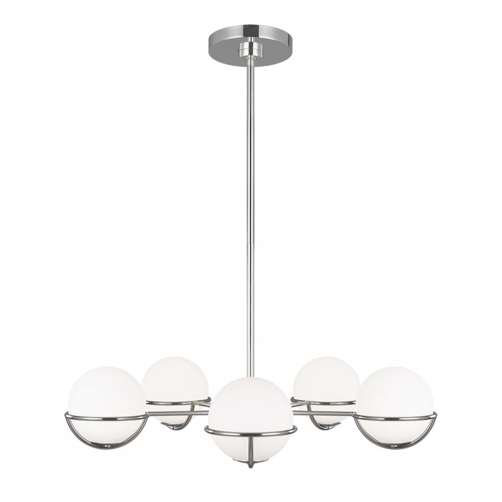 APOLLO 5 light chandelier in burnished brass with opal glass globe shades