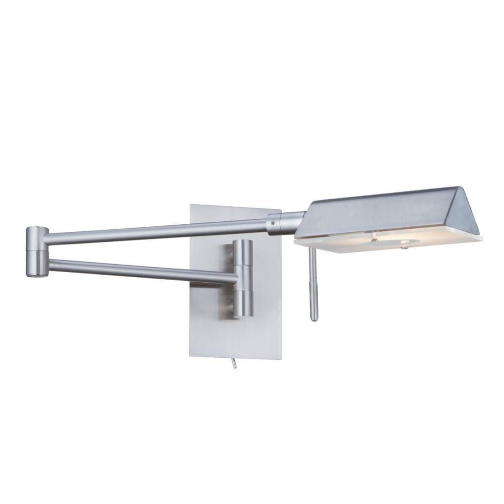 Modern Swing Arm Wall Light In Satin Silver Finish