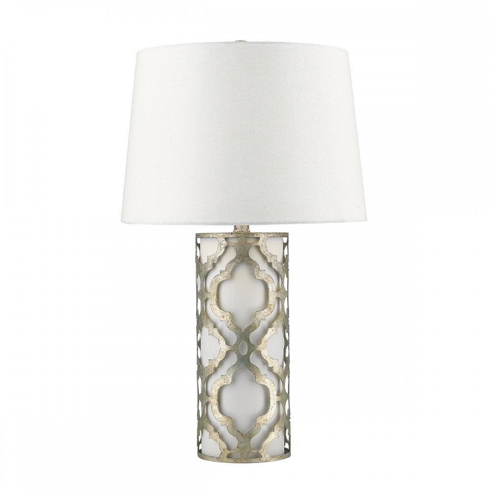 ARABELLA distressed silver filigree table lamp with white inner and shade