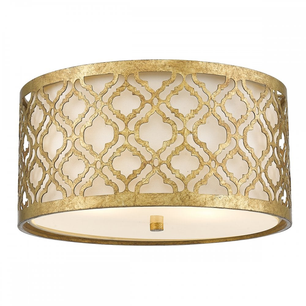Arabella flush fit ceiling light in distressed gold finish