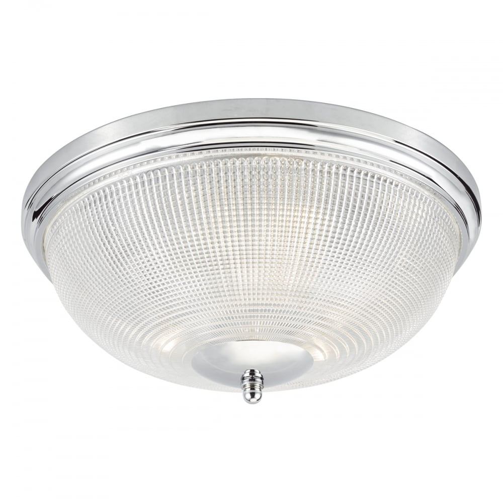 Flush chrome and prismatic glass bathroom ceiling light