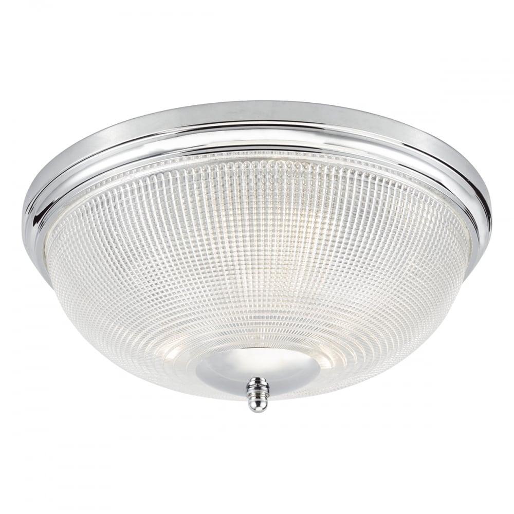Flush Bathroom Ceiling Light in Chrome and Glass ...