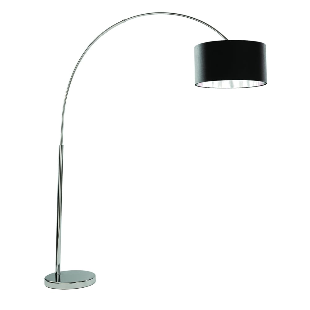 Arcs Curved Modern Floor Lamp In Polished Chrome With Black Shade