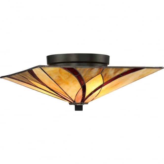 ASHEVILLE Tiffany flush ceiling light with bronze fixing and amber and red art glass shade