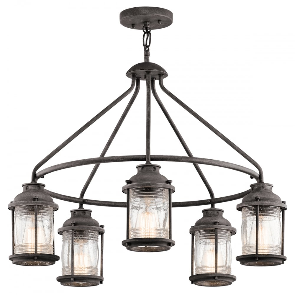 Ashland bay 5 light exterior chandelier in weathered zinc with clear seeded glass