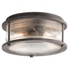 traditional flush fit exterior light in weathered zinc