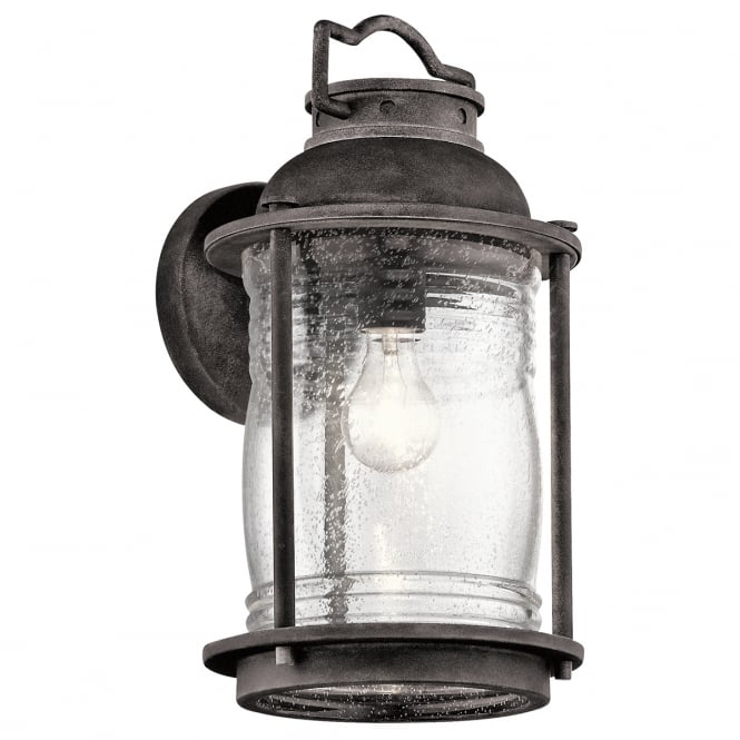 ASHLAND BAY exterior wall lantern in weathered zinc with clear seeded glass (large)