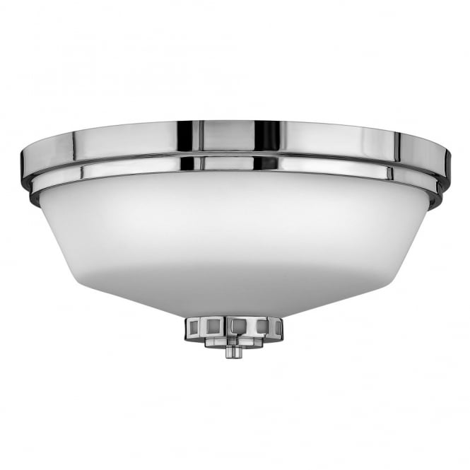 Art deco inspired classic flush bathroom ceiling light in chrome classic flush bathroom ceiling light in polished chrome with opal glass shade aloadofball