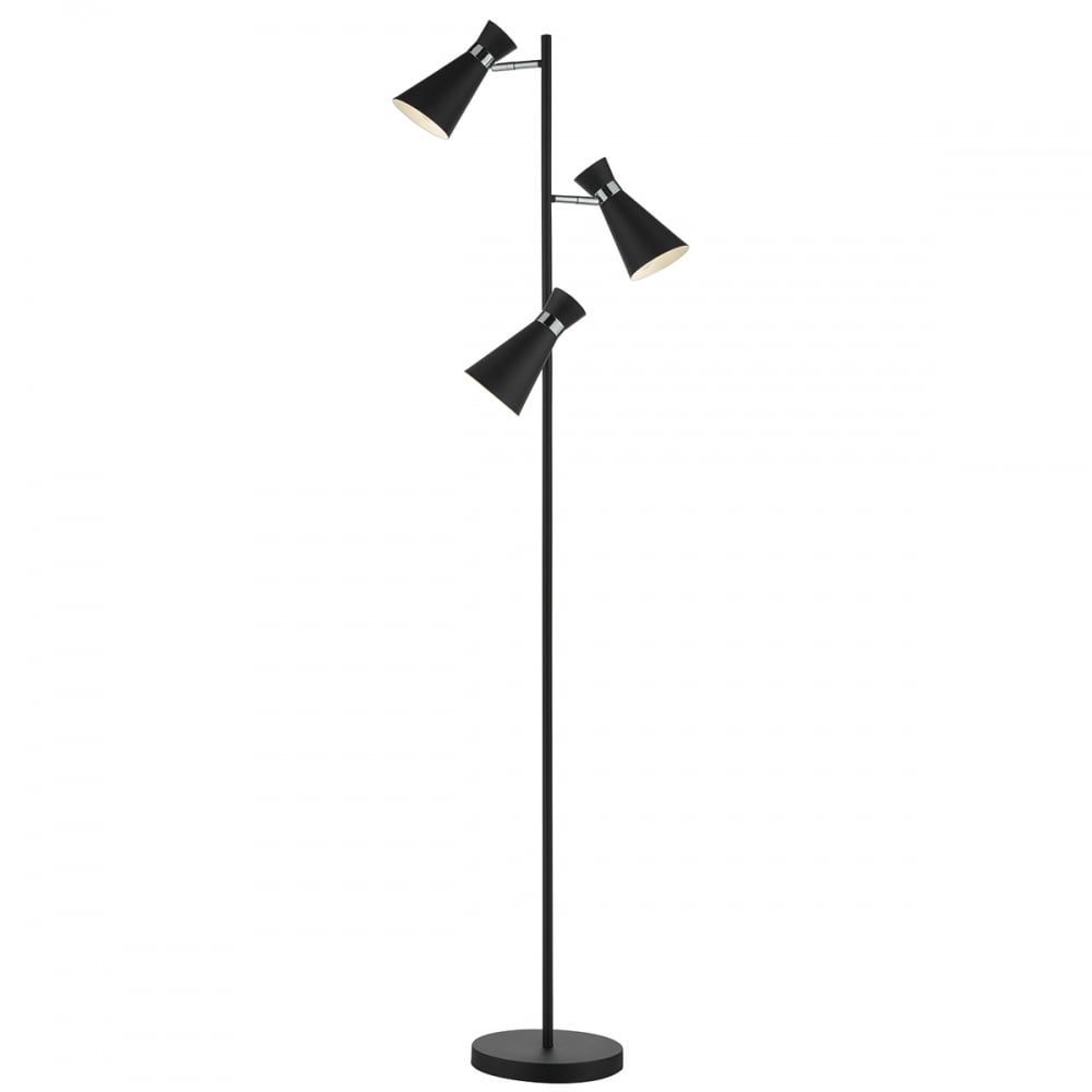 Contemporary Matte Black And Chrome 3 Light Floor Lamp