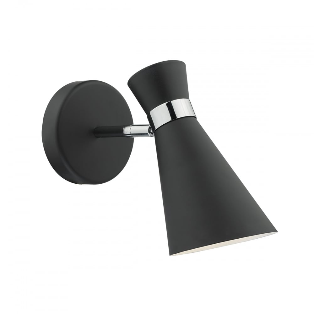 Contemporary black wall light with polished chrome detail modern black and chrome wall light aloadofball Choice Image