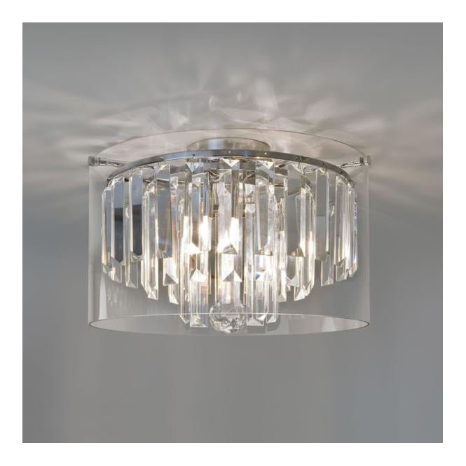 Lovely Modern Bathroom Chandelier With Crystal Glass Droplets And Glass Surround