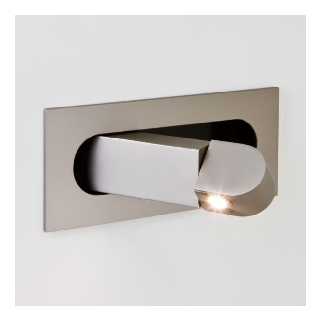 Modern LED Recessed Wall Light in Matte Nickel Finish, Low Energy