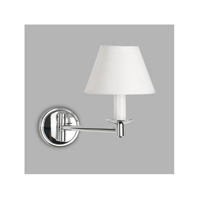 Bathroom Wall Lamp Shades : Decorative Polished Chrome Swing Arm Bathroom Wall Light with Shade