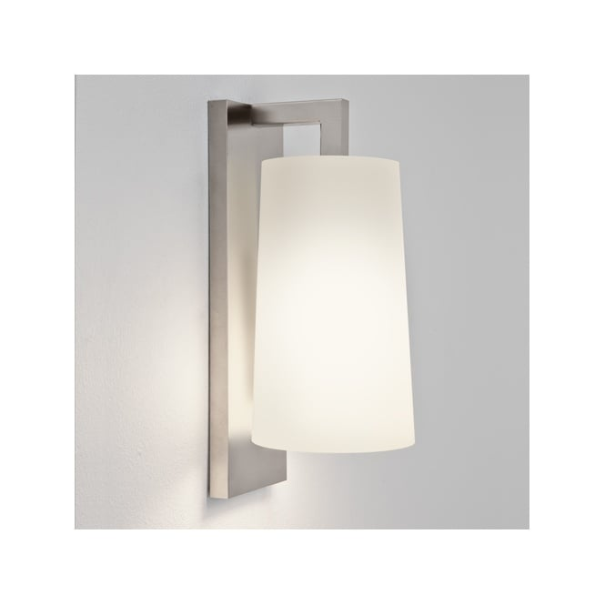 LAGO contemporary matt nickel bathroom wall light with opal glass shade