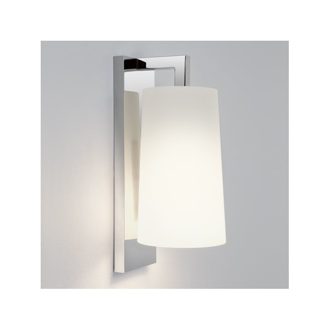 LAGO contemporary polished chrome bathroom wall light with opal glass shade