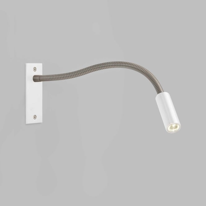 LEO flexible LED wall arm reading light in white finish