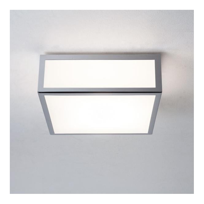 MASHIKO 200 chrome & white glass bathroom ceiling light