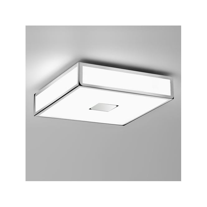 Astro MASHIKO CLASSIC 300 chrome & white shade bathroom ceiling light (medium)