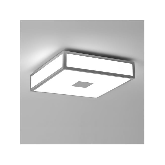 Astro MASHIKO CLASSIC 300 painted silver & white shade bathroom ceiling light (medium)