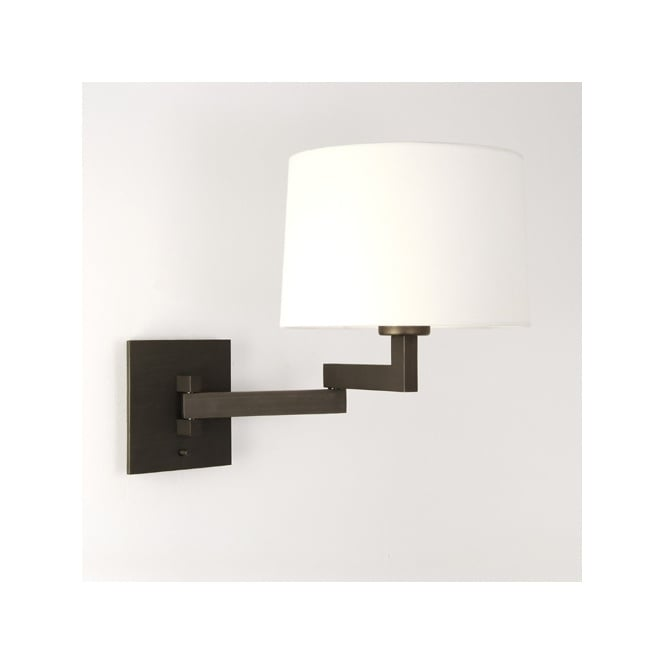 Modern Swing Arm Wall Light with Shade - Switched. Great Bedside Light