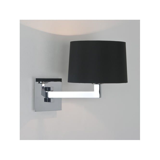 MOMO single swing arm contemporary wall light with shade IP44 (chrome)