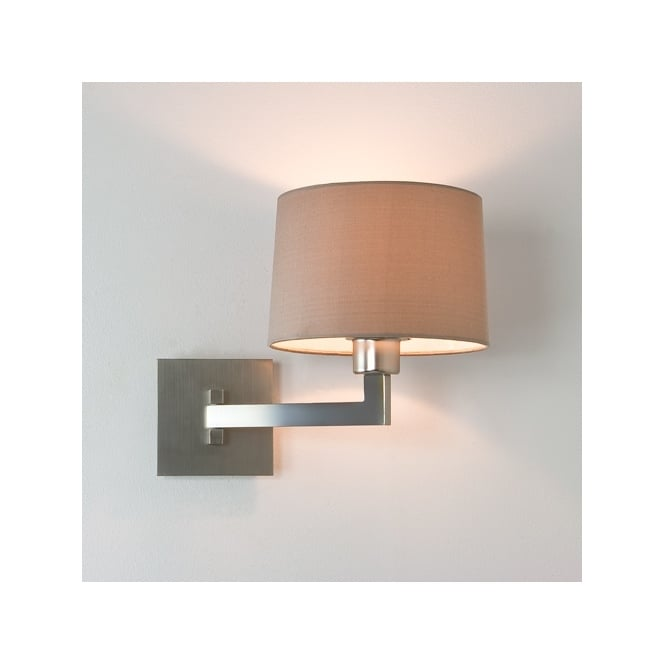 Astro MOMO single swing arm contemporary wall light with shade IP44 (matte nickel)